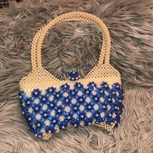 Vtg acrylic beaded purse bag